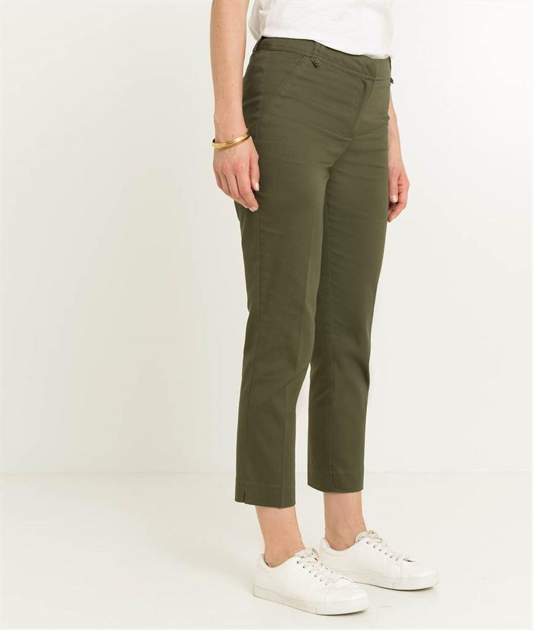 Pantalon femme 7/8ème en satin de coton KAKI