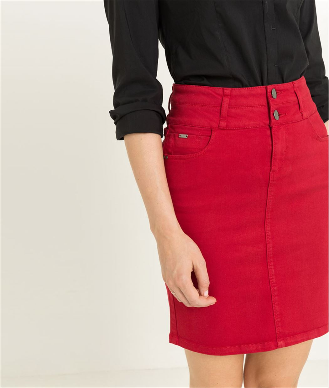 Jupe femme taille haute ROUGE