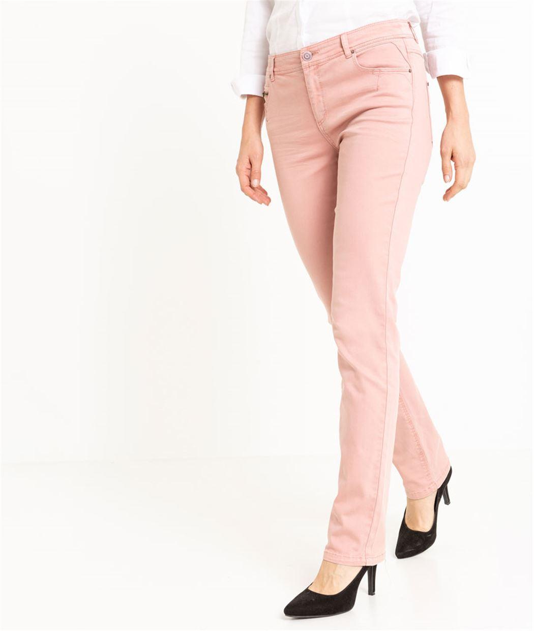 Pantalon femme droit couleur uni ROUILLE