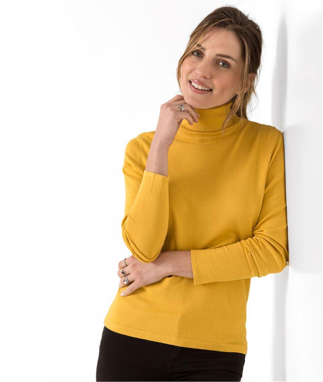 pull femme fin avec col roul jaune grain de malice