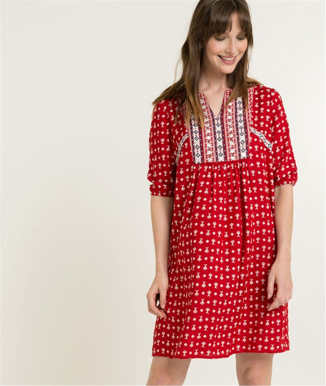Robe femme rouge imprimée ROUGE