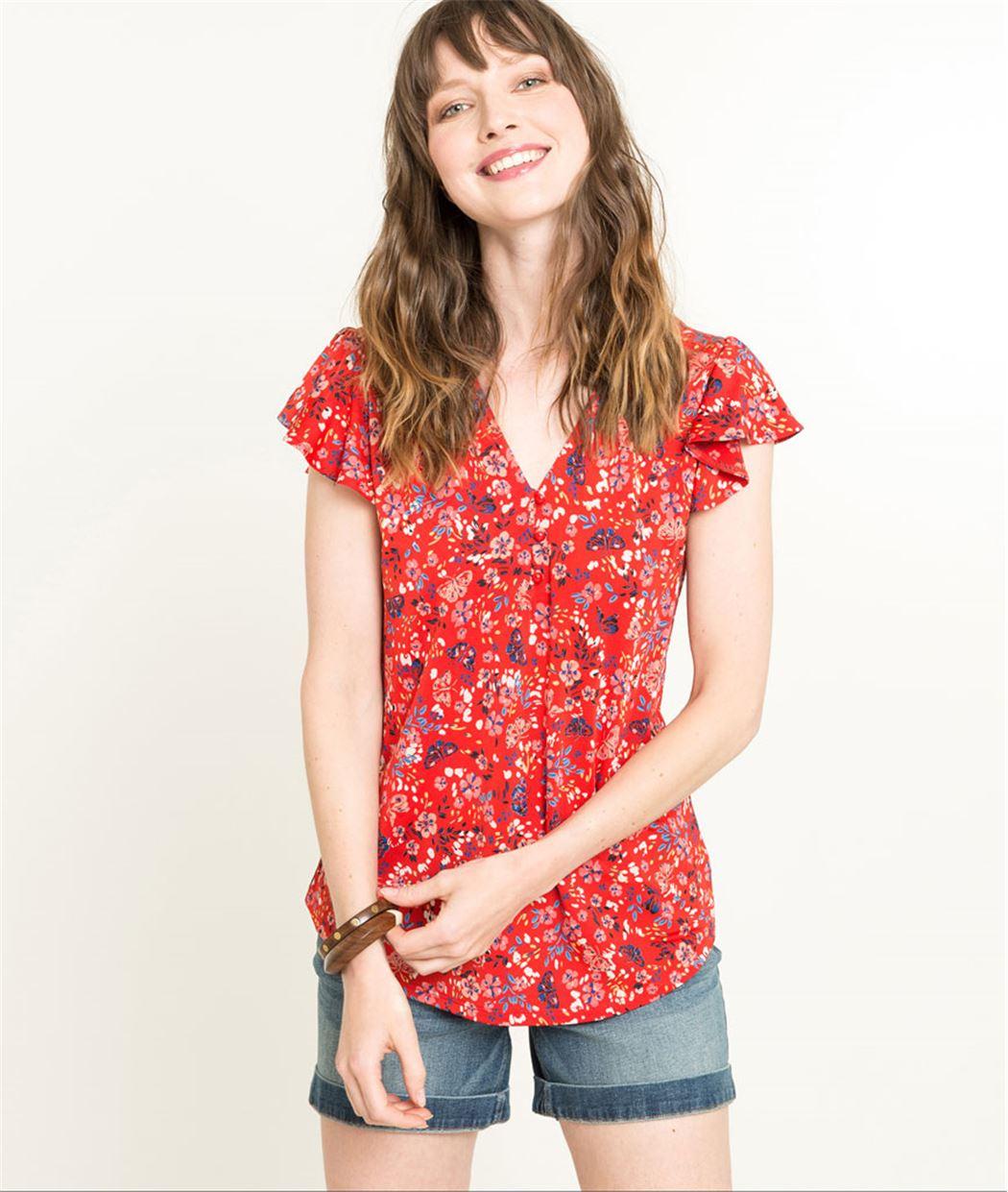 T-shirt manches courtes rouge fleuri ROUGE