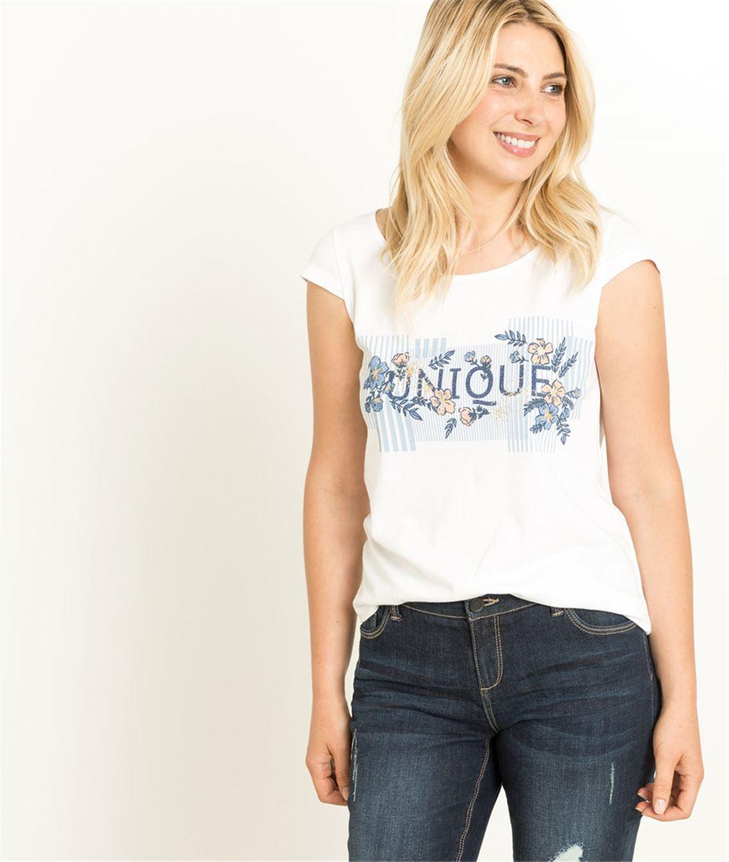 T-shirt femme blanc imprimé unique BLANC