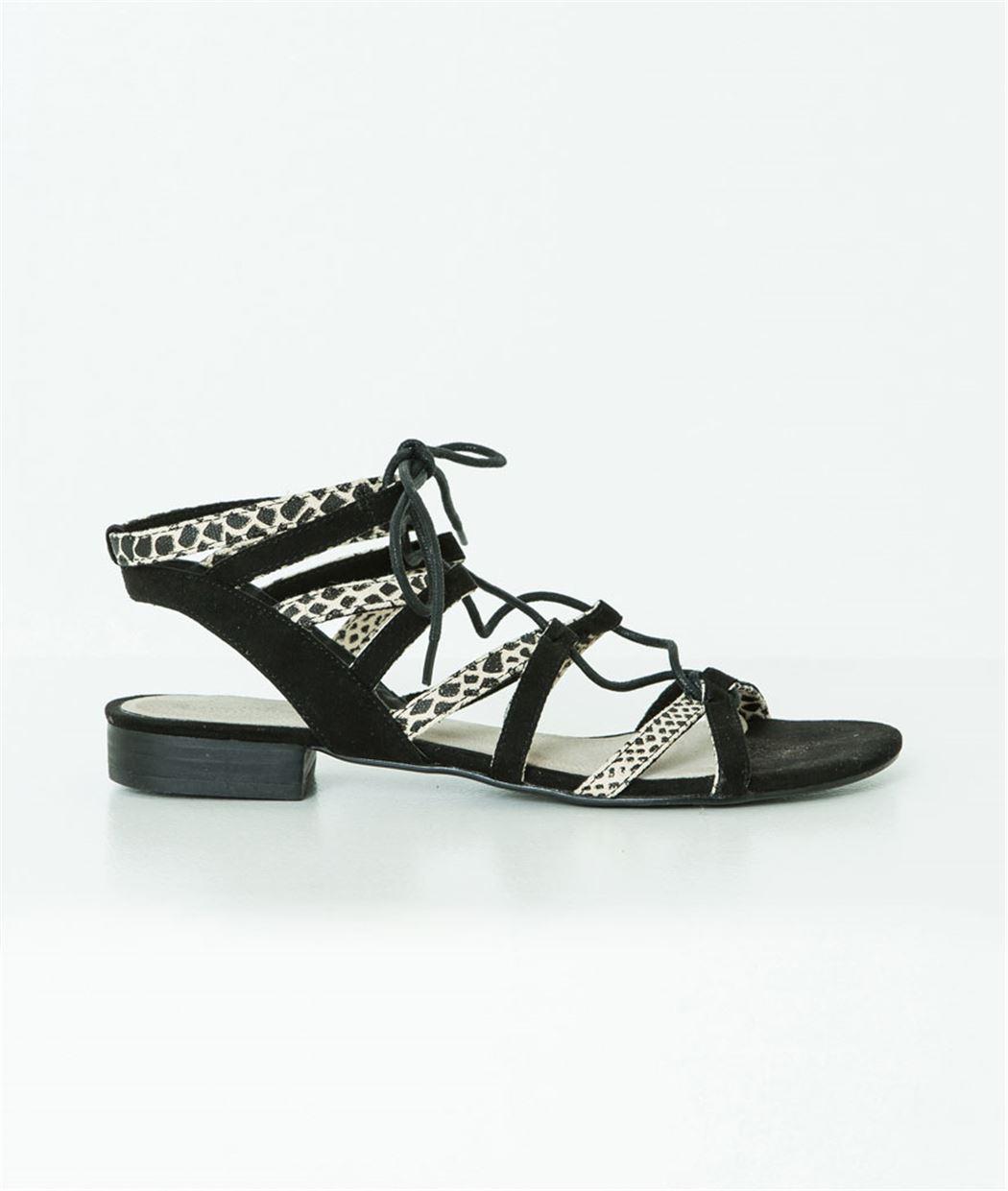Sandales femme plates bimatière NOIR