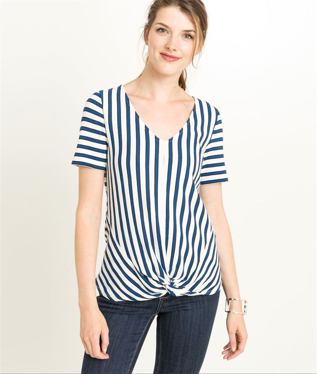 T-shirt femme rayé manches courtes noeud BLANC