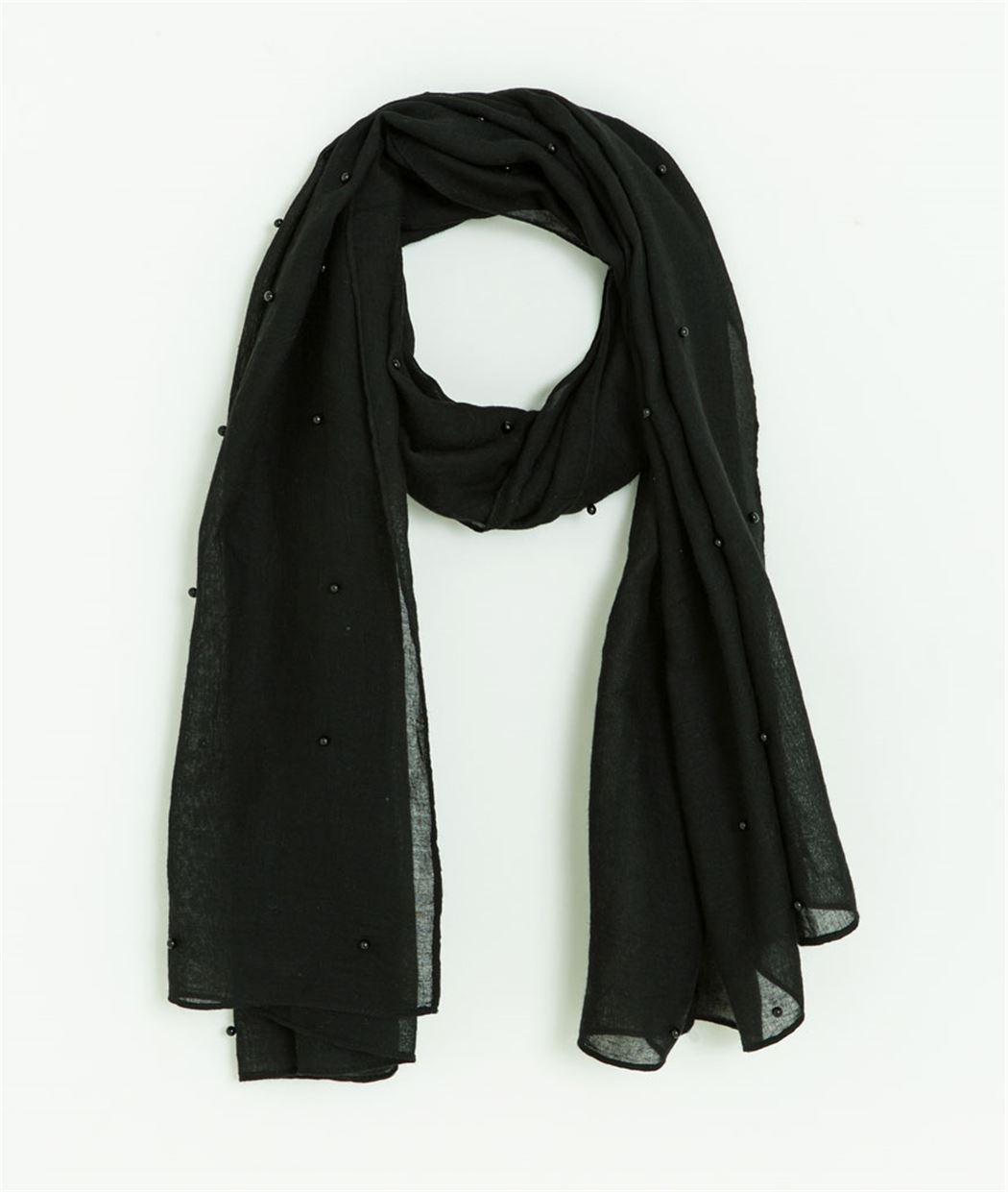 Foulard noir uni avec perles NOIR