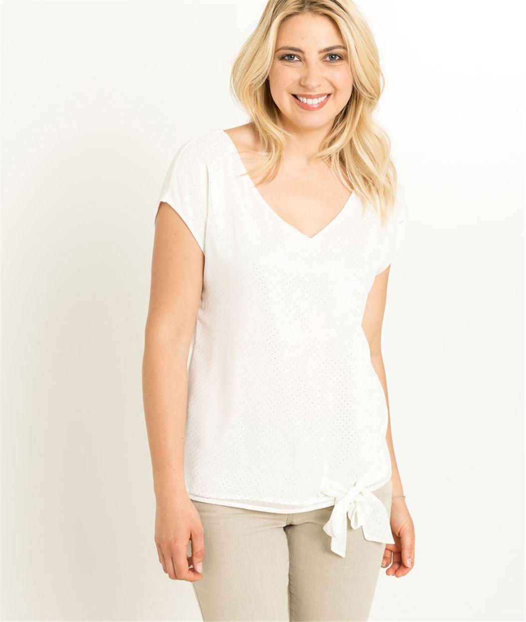 T-shirt femme blanc à pois et noeud ECRU