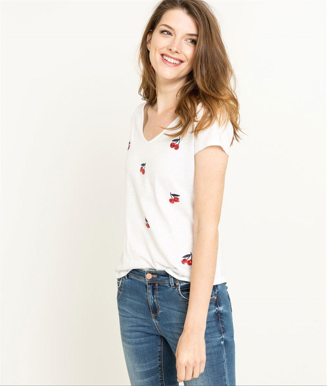 T-shirt femme manches courtes cerises BLANC