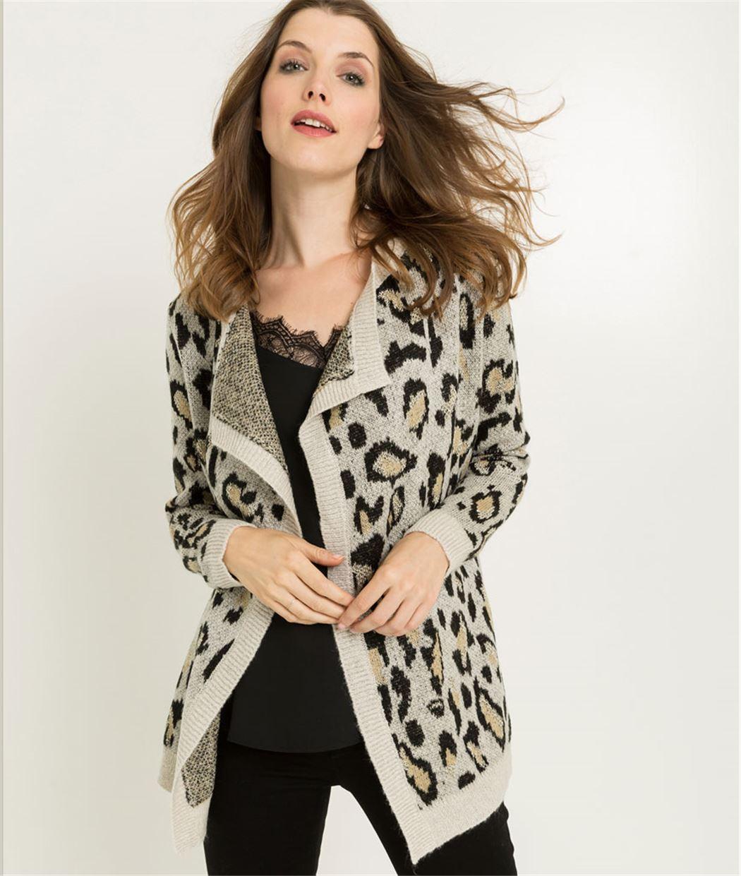 Long gilet femme motif léopard GRIS
