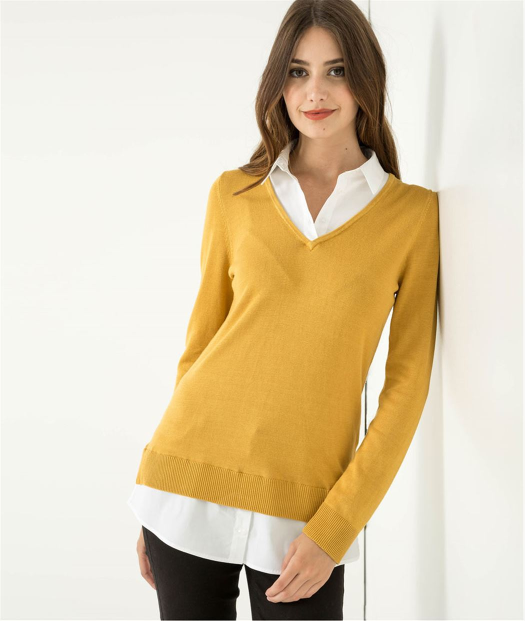 Pull femme col chemisier CURRY