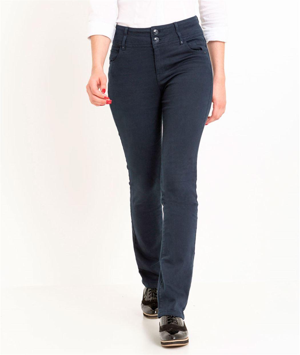 Pantalon femme droit taille haute MARINE