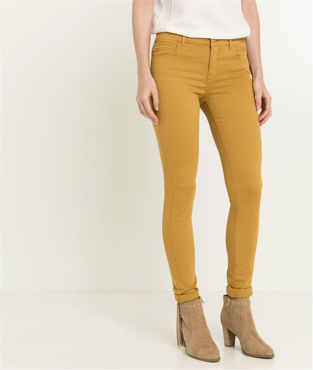 Pantalon slim couleur effet push up SAFRAN