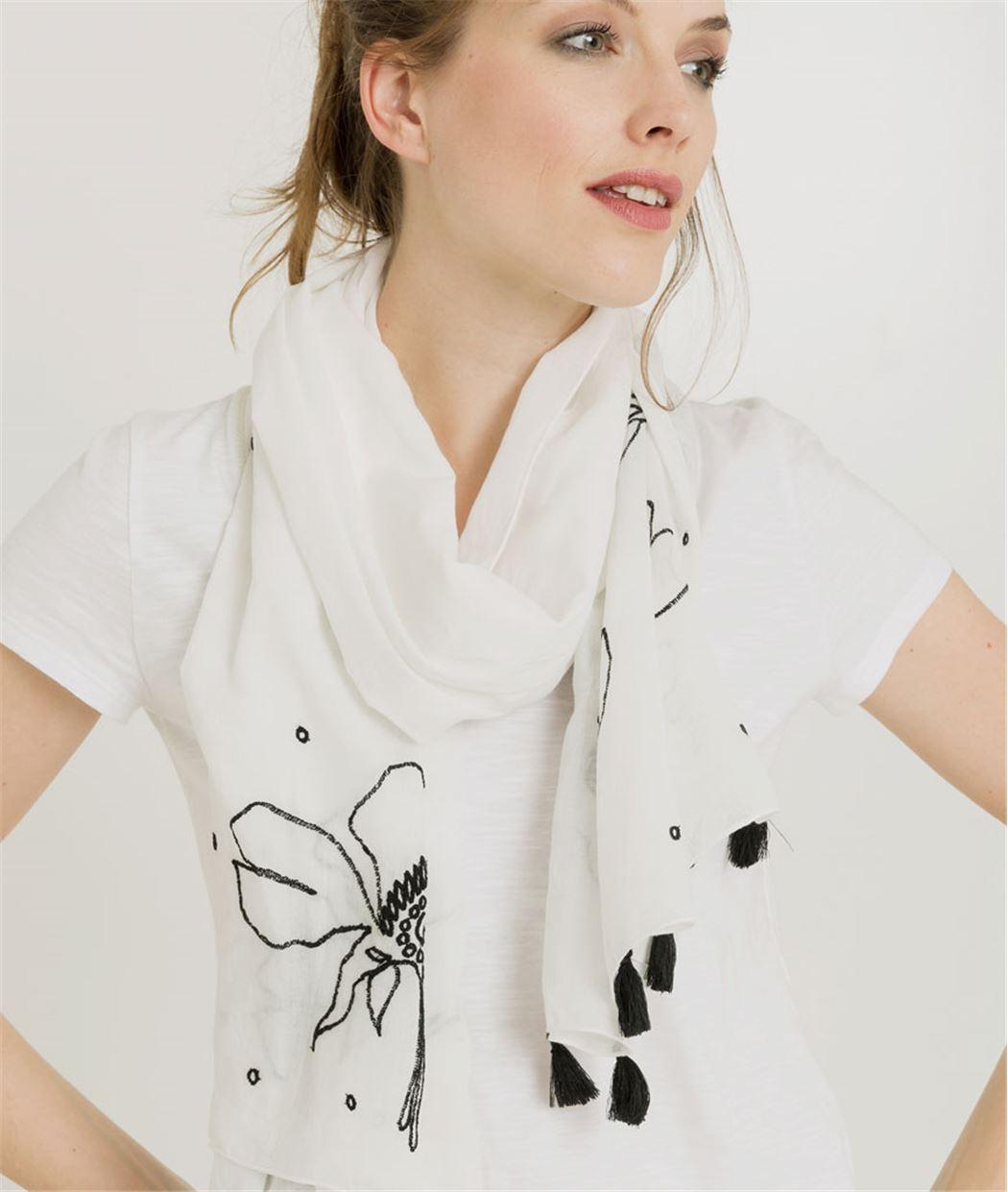 Foulard femme noir et blanc brodé BLANC