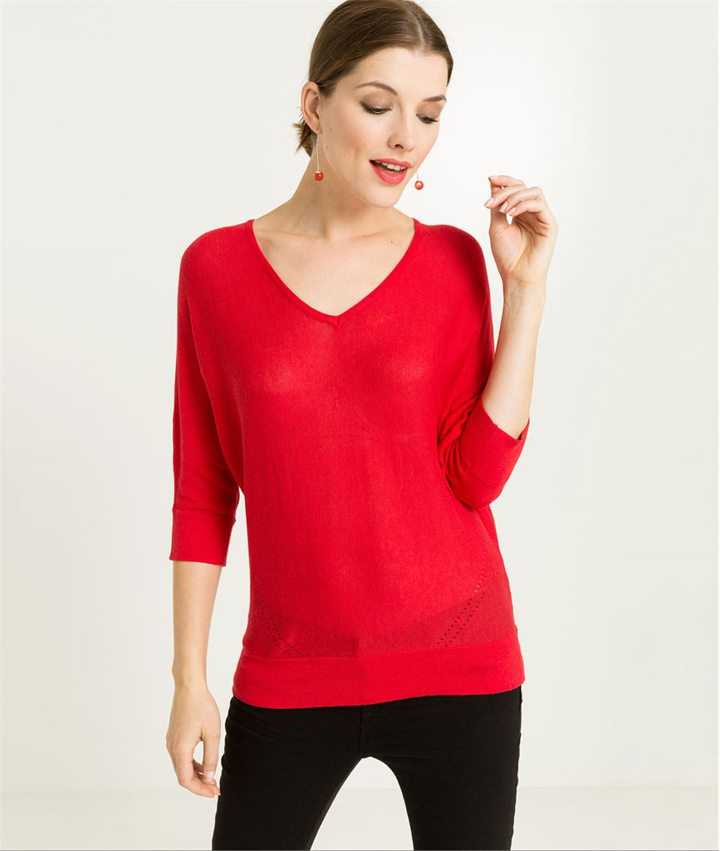 Pull femme fin manches 3/4 ROUGE