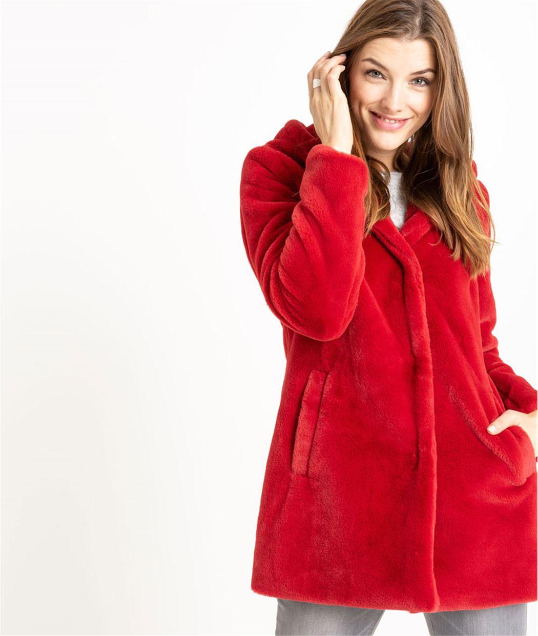 manteau femme fausse fourrure rouge rouge grain de malice. Black Bedroom Furniture Sets. Home Design Ideas