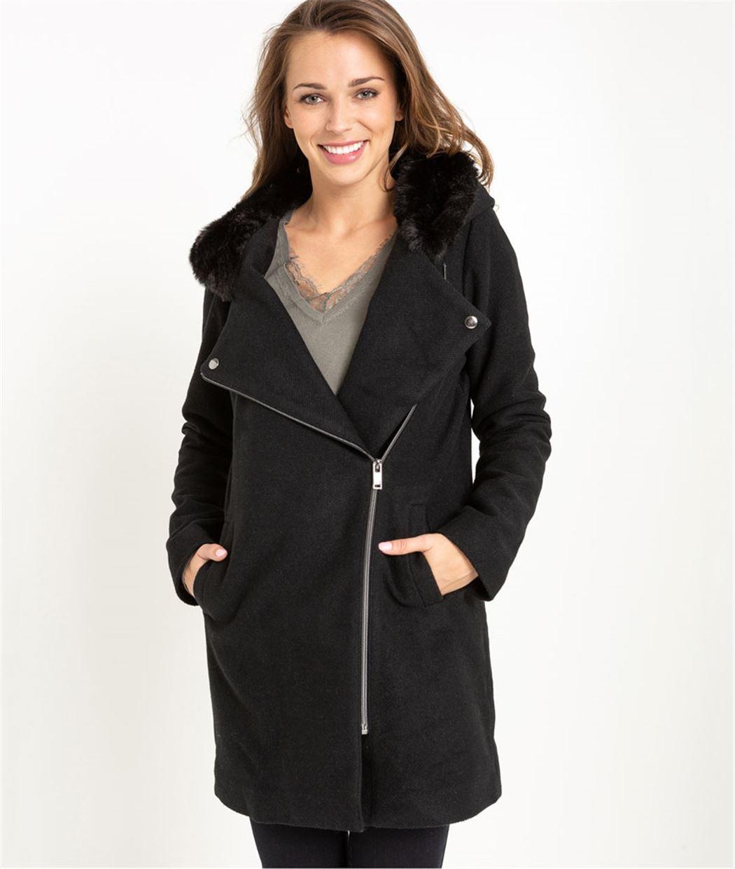 Manteau femme avec fausse fourrure NOIR