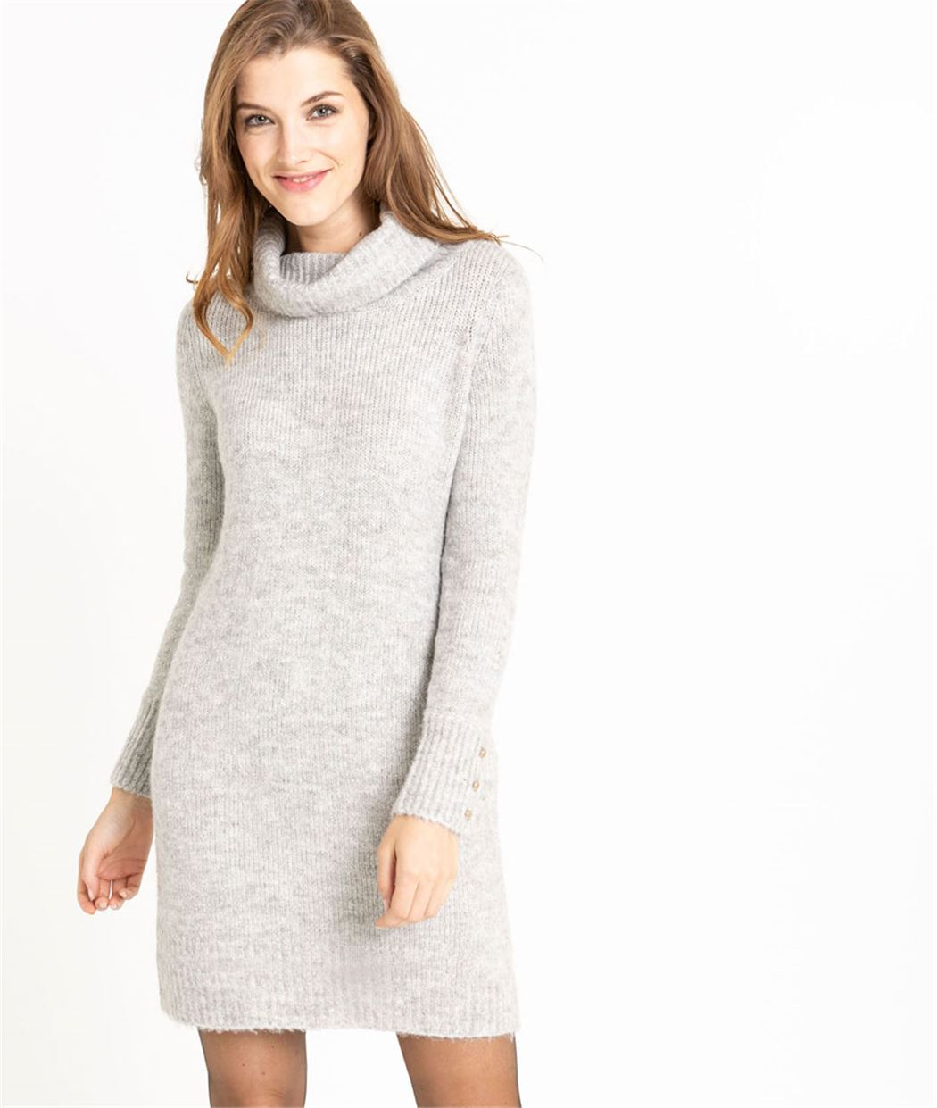 Robe pull femme col boule GRIS CLAIR