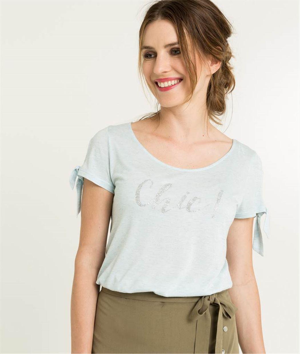 T-shirt femme bleu pastel avec message BLEU