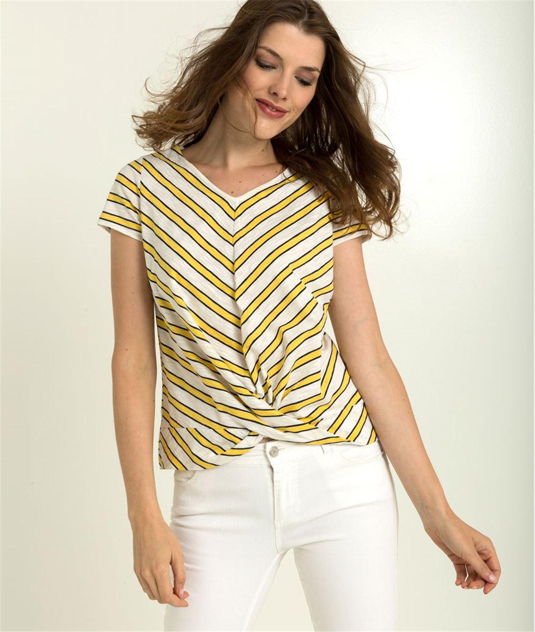 T-shirt femme rayures et bas noué BLANC