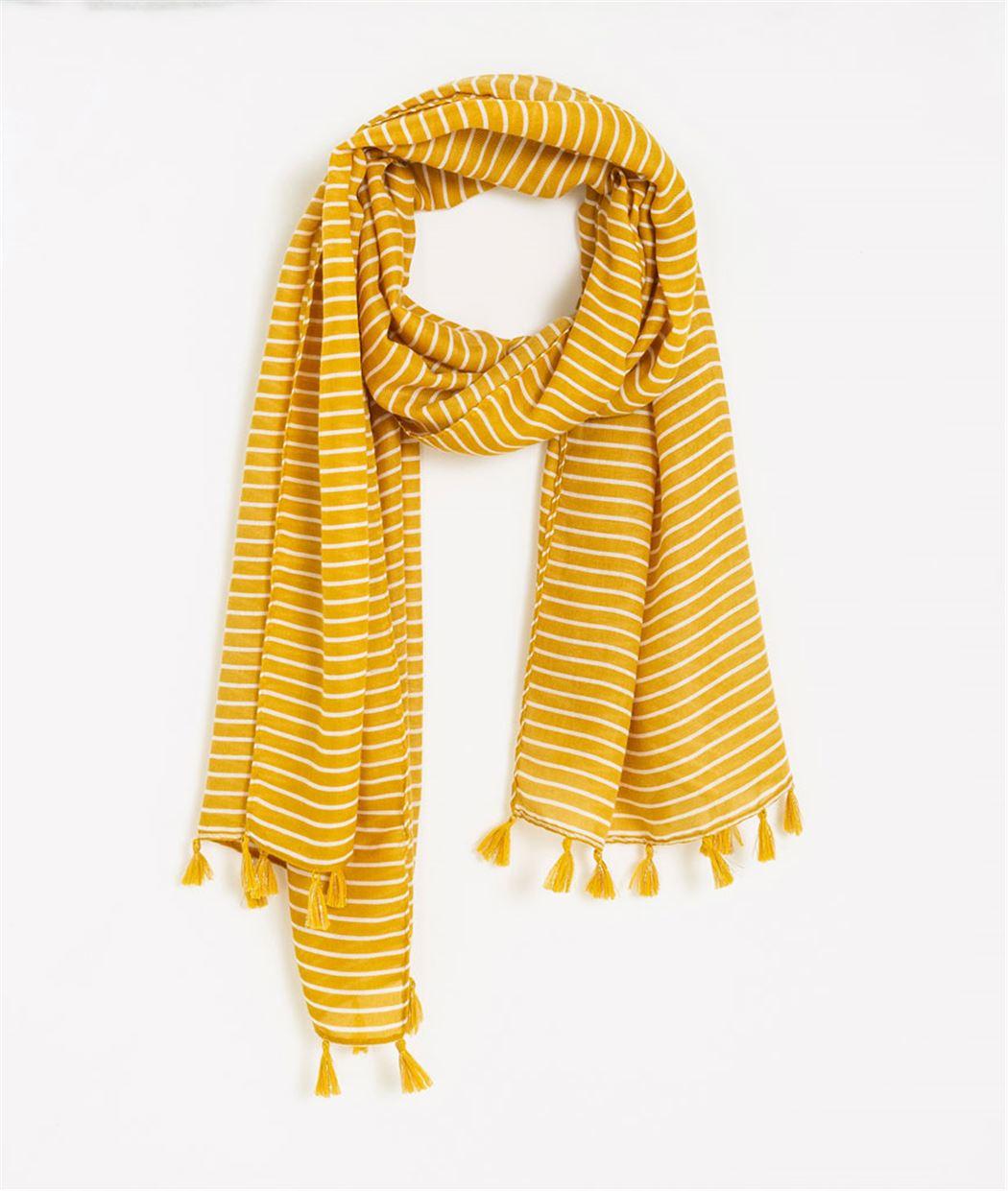 Foulard femme rayé jaune JAUNE