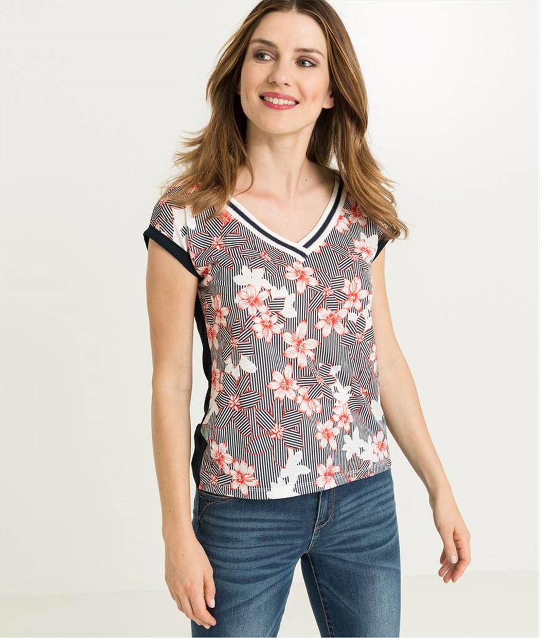 T-shirt femme col V rayé et fleurs MARINE