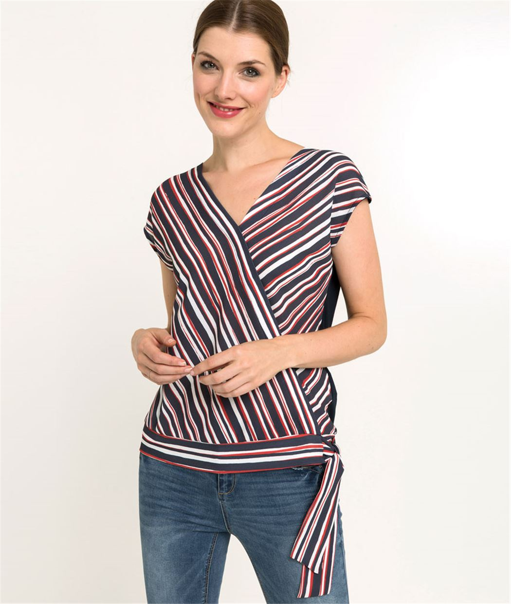 T-shirt femme cache-coeur rayé BLEU