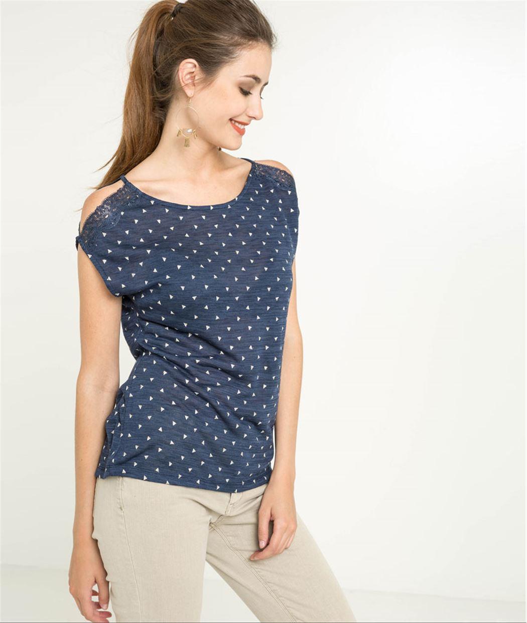 T-shirt femme épaules ouvertes dentelle MARINE