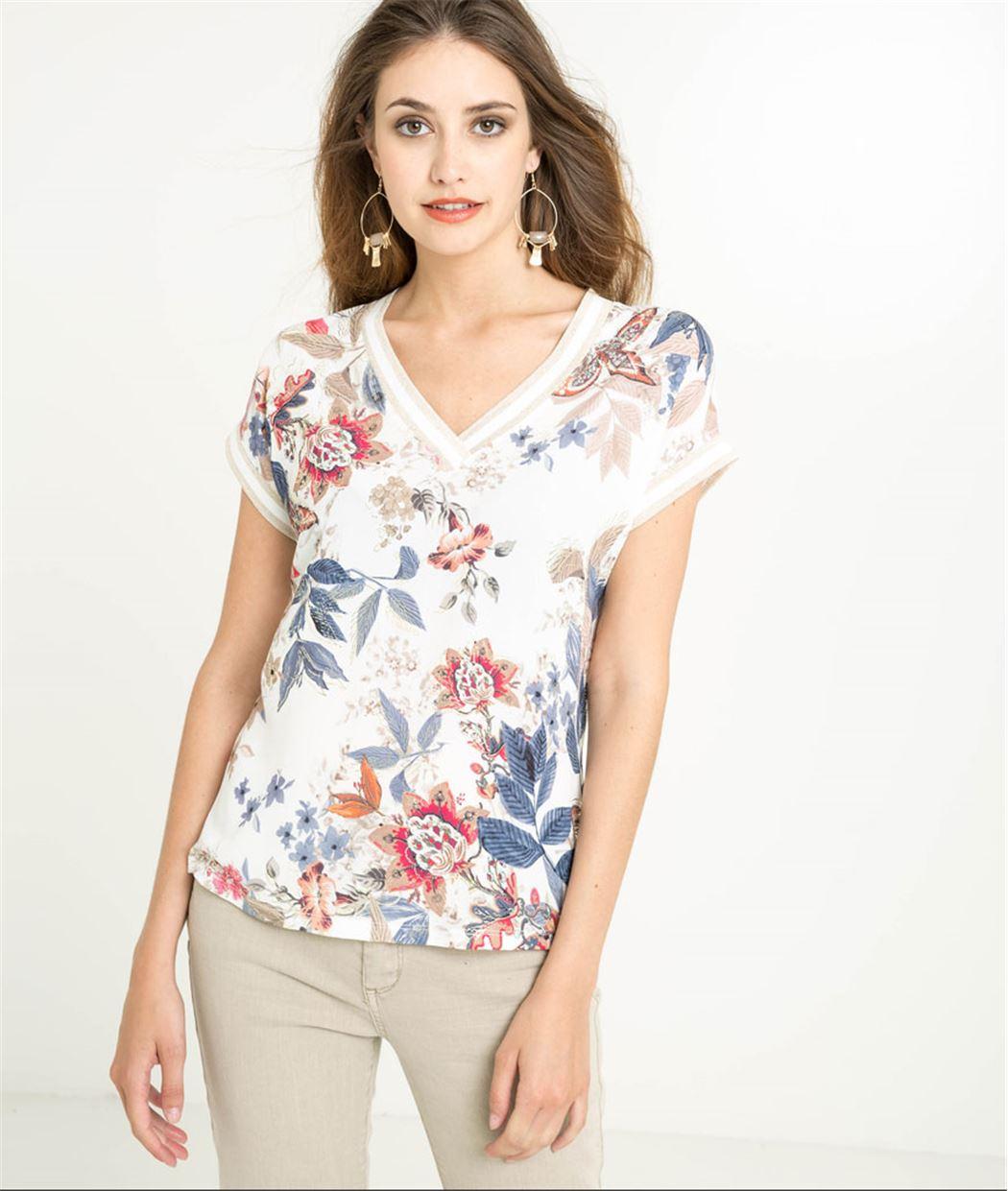 T-shirt femme fleuri col V ECRU