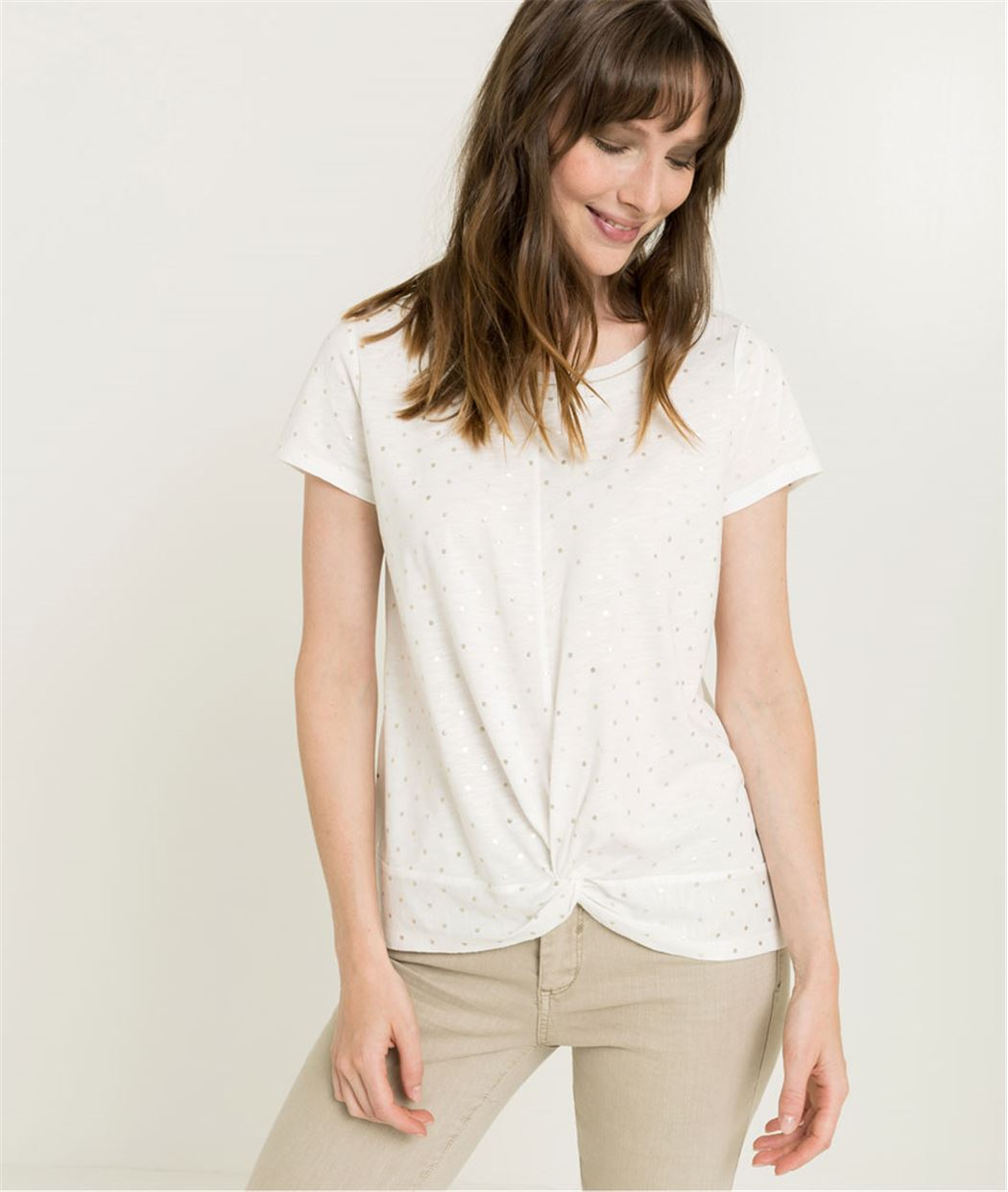 T-shirt femme blanc à pois BLANC CASSE