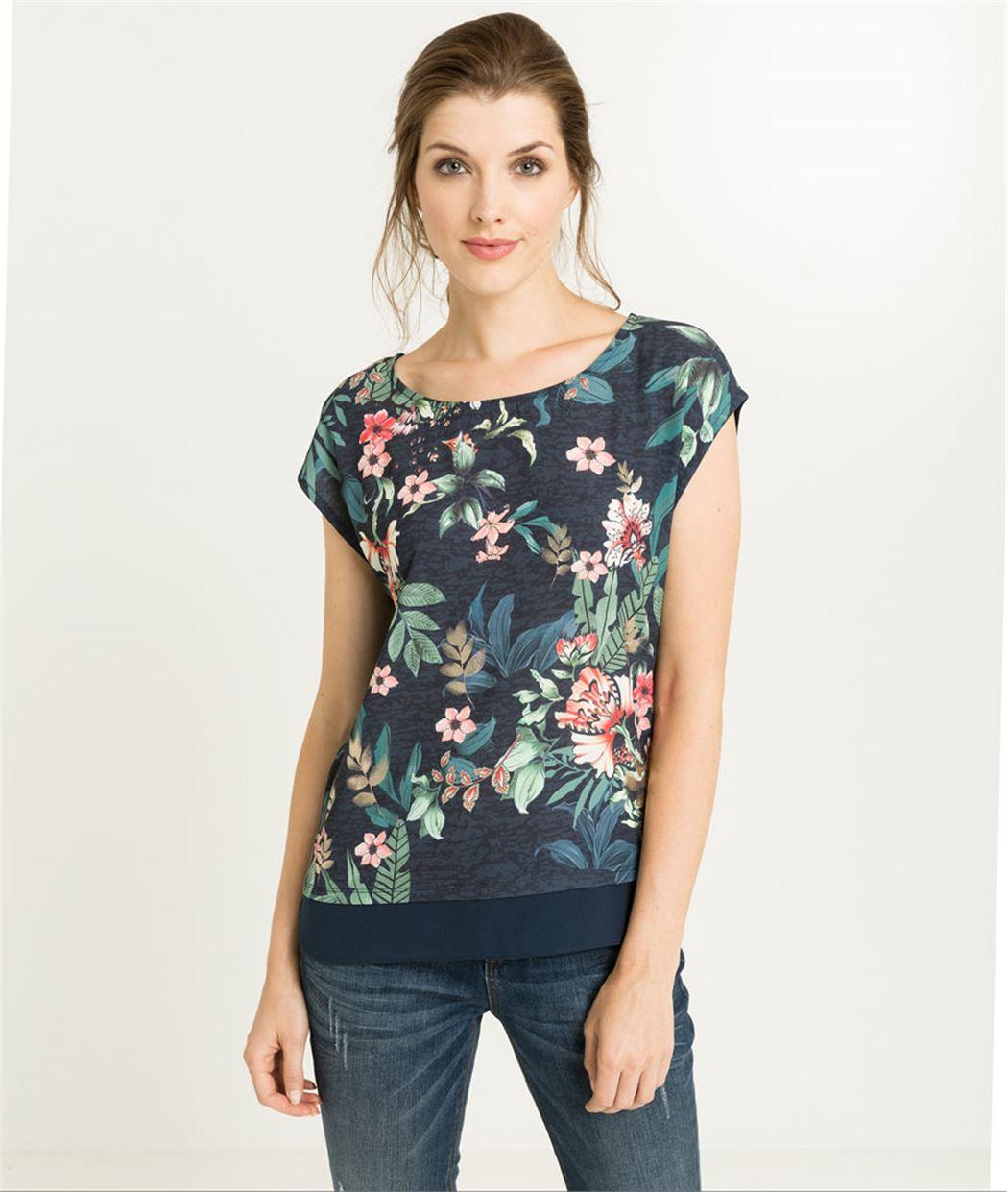 T-shirt femme bi-matière imprimé fleuri MARINE