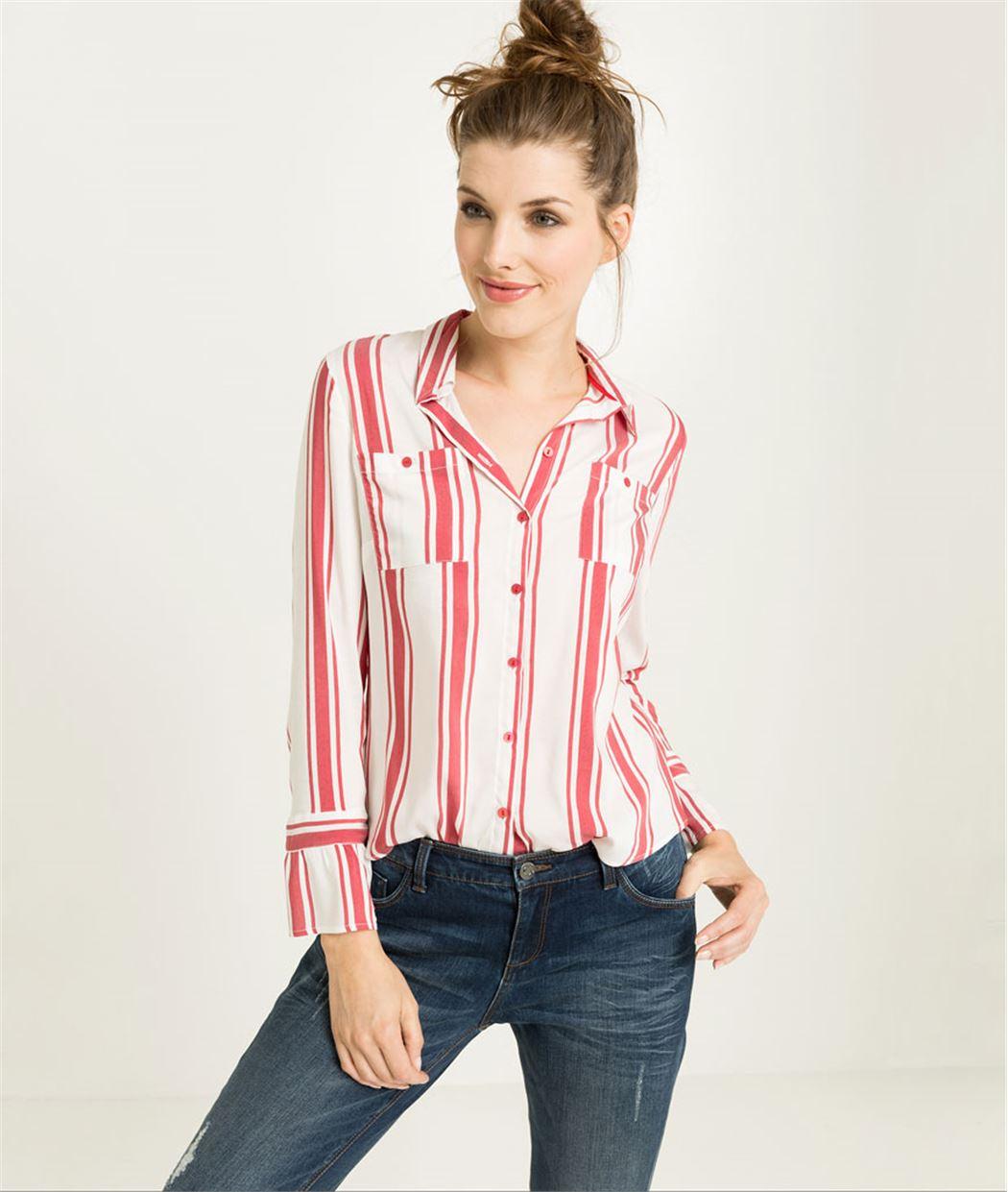 Chemise femme rayée rouge et blanc BLANC