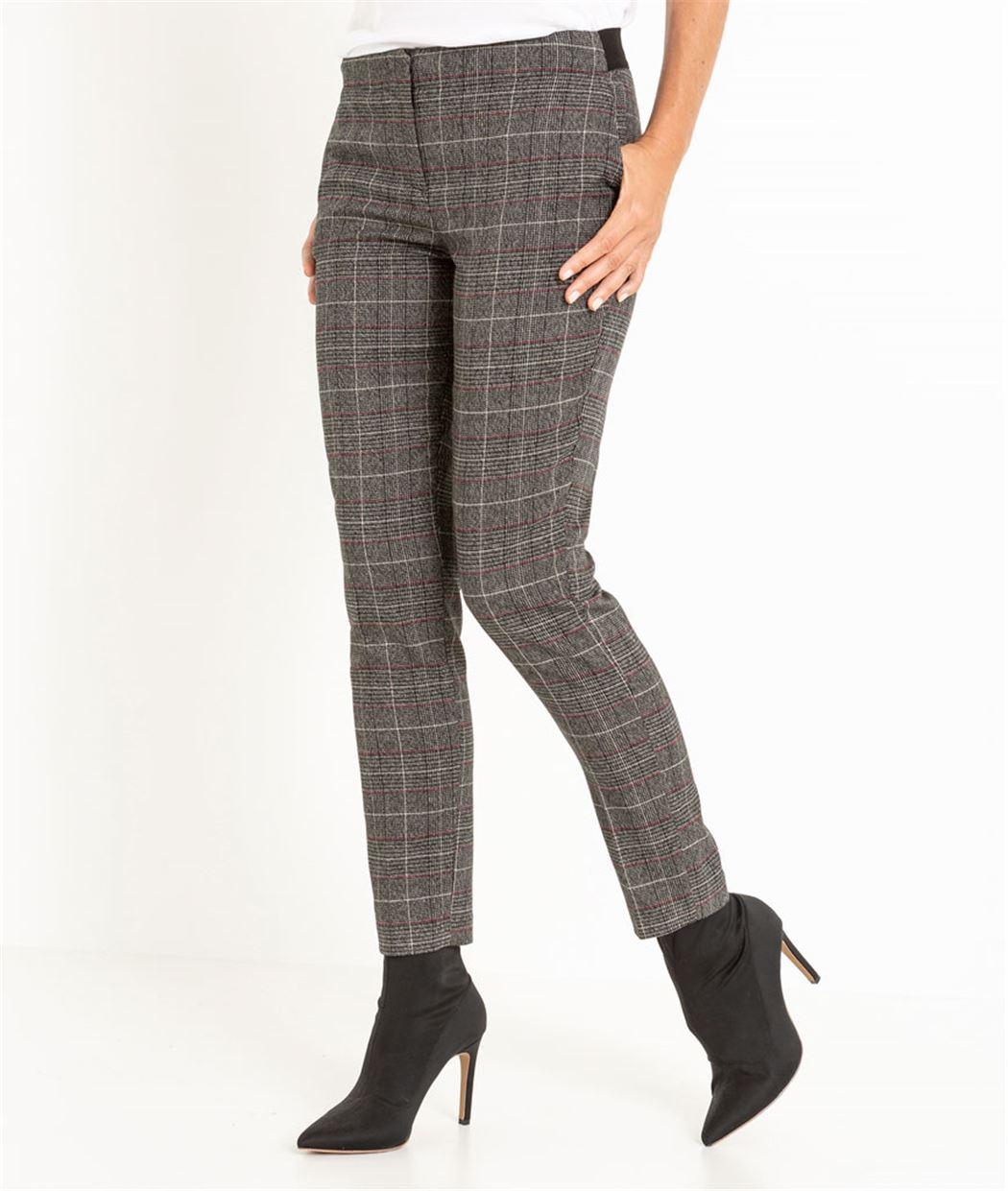 Pantalon femme à carreaux GRIS