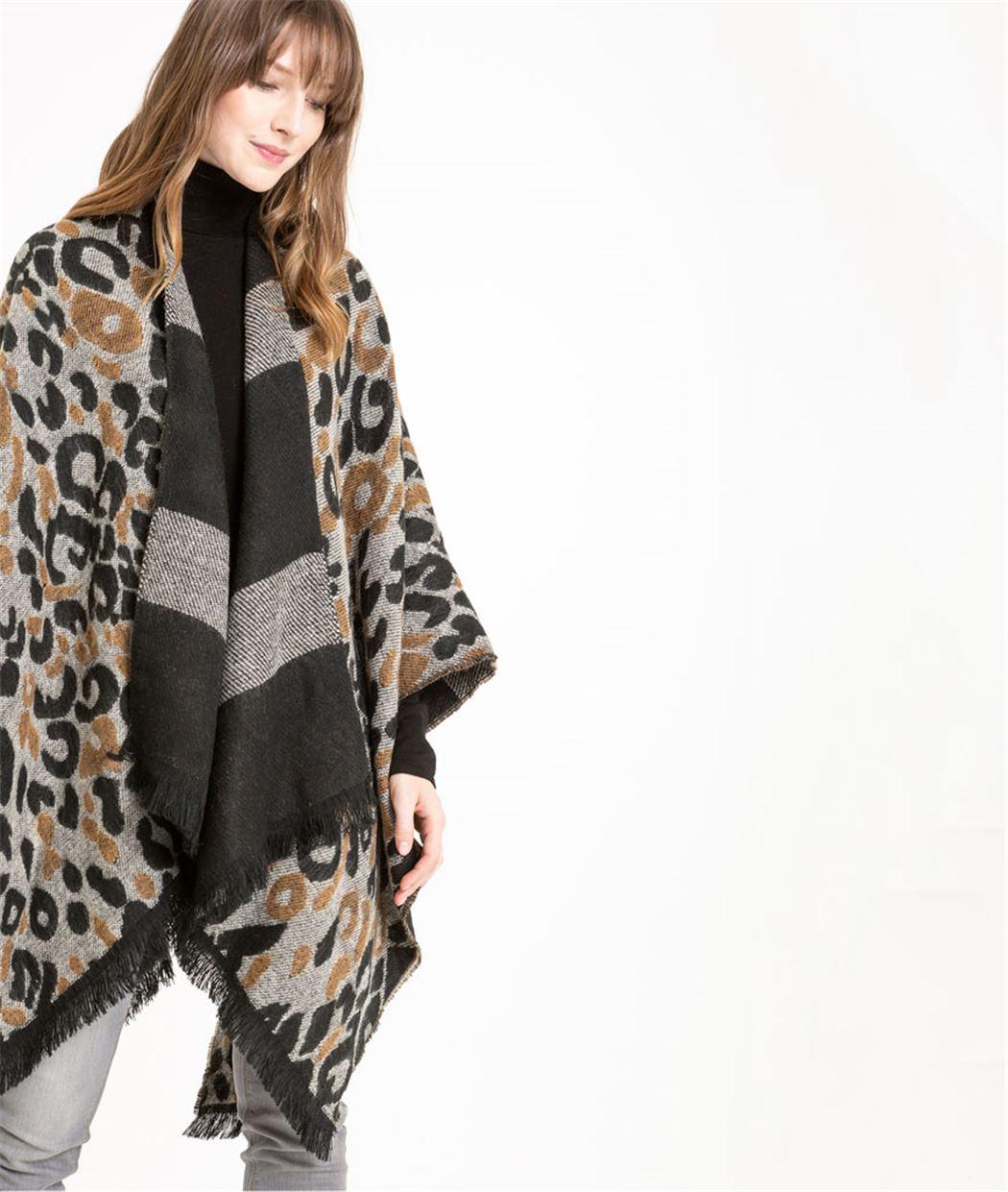 Poncho femme réversible motif léopard BEIGE