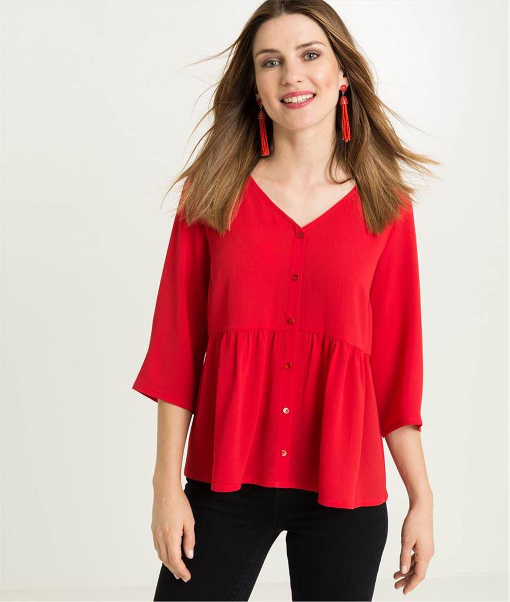 Blouse femme rouge avec boutons ROUGE