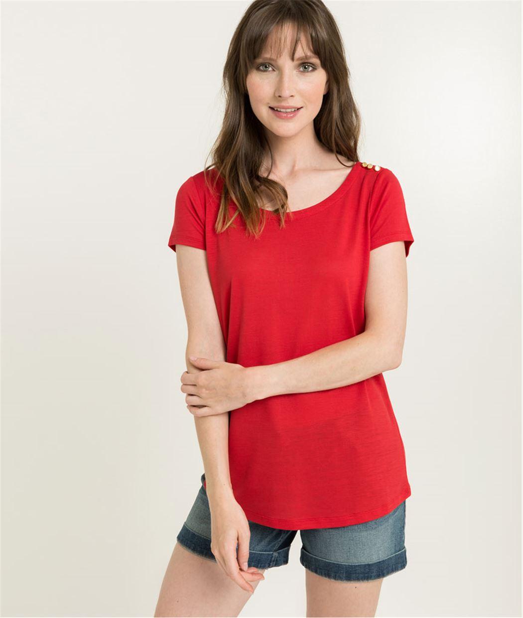 T-shirt femme rouge uni et boutons ROUGE