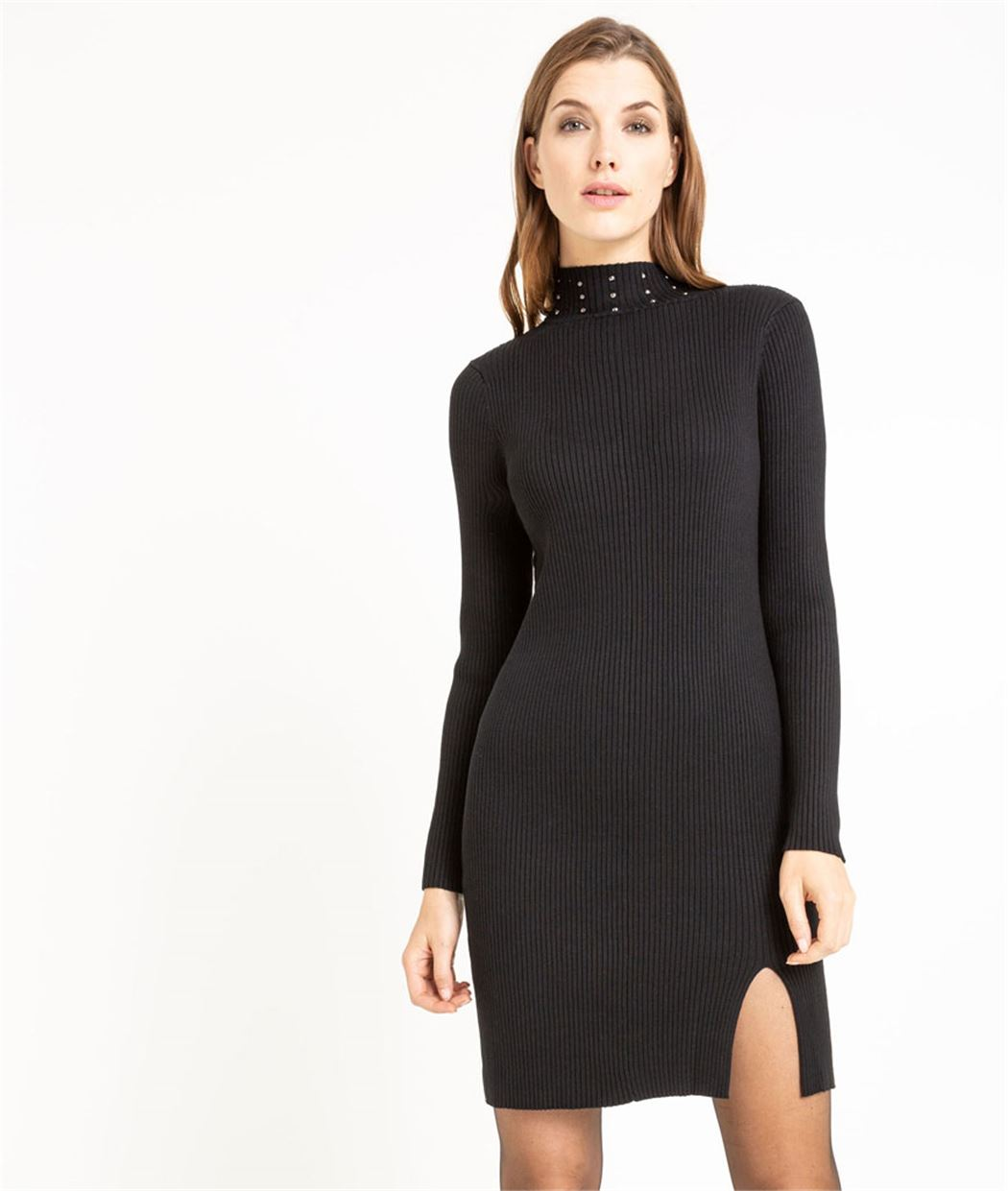 Robe pull noire avec clous pour femme NOIR
