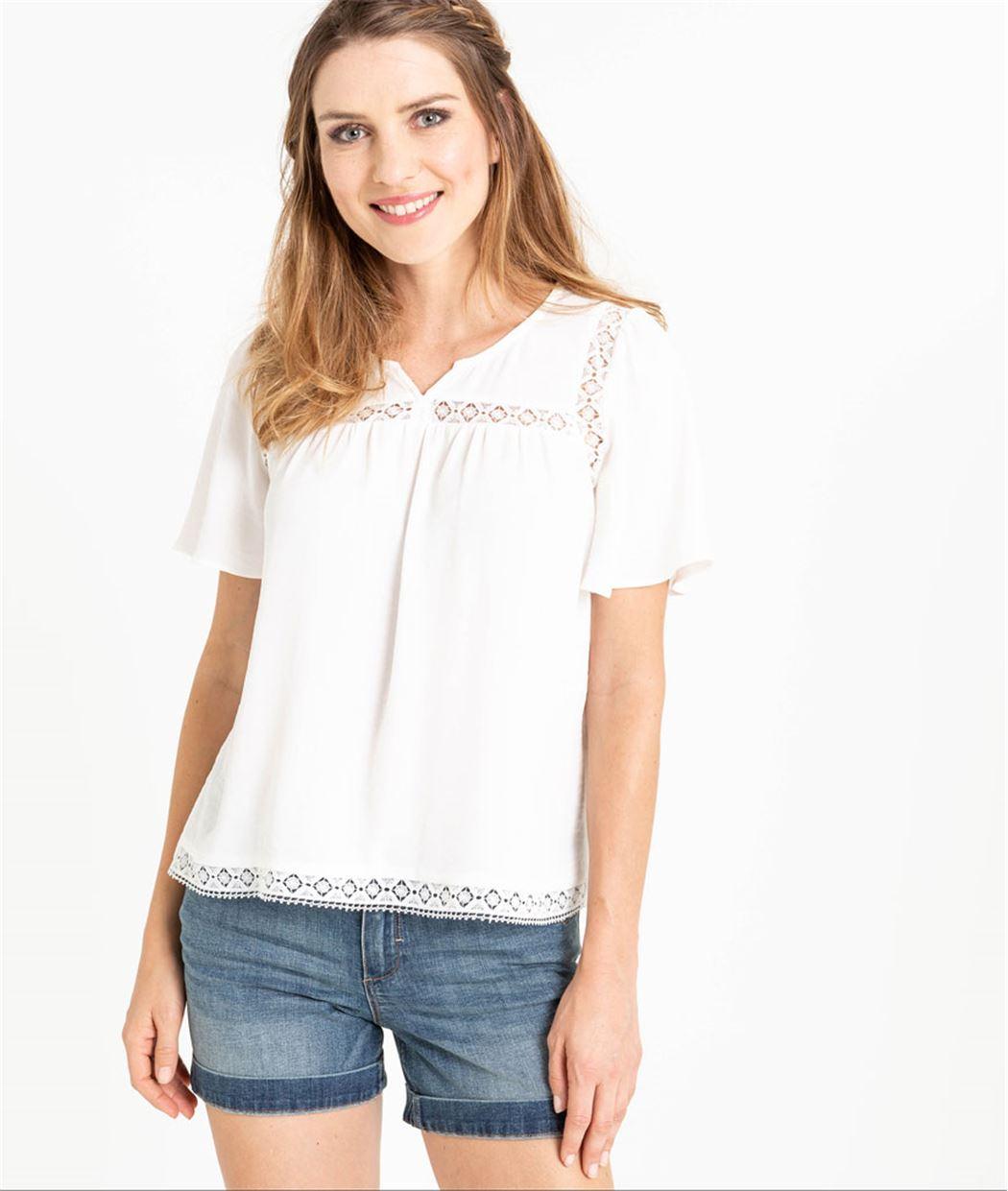 Blouse femme blanche avec dentelle ECRU