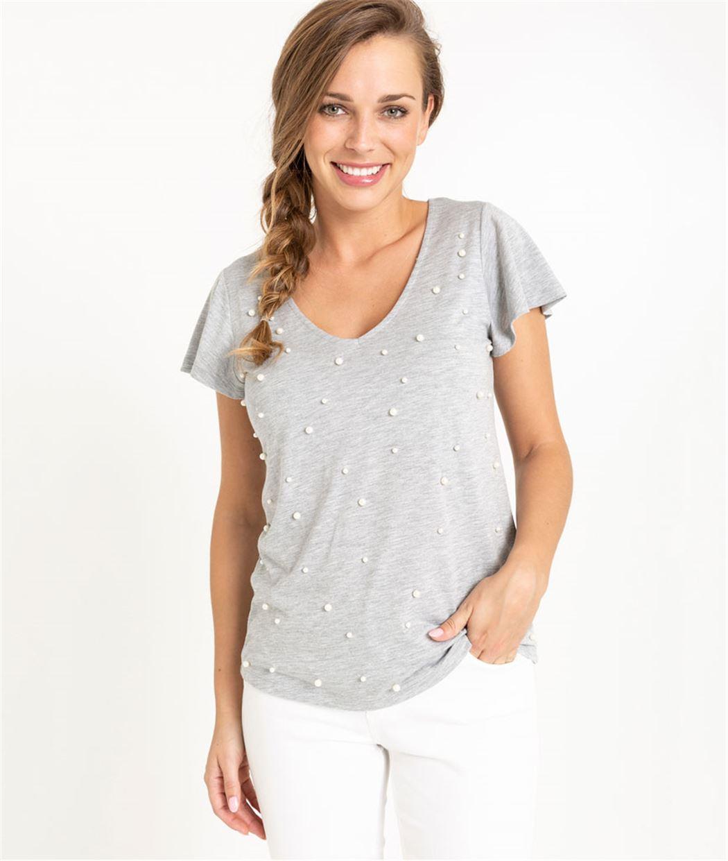 T-shirt femme gris avec perles blanches GRIS