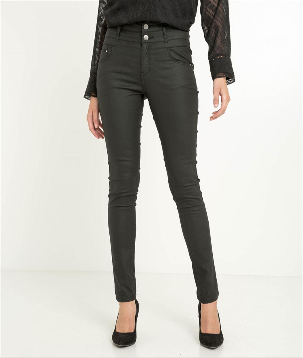 Pantalon femme enduit noir taille haute NOIR