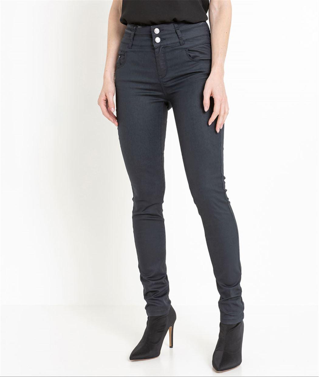 Pantalon femme enduit taille haute MARINE