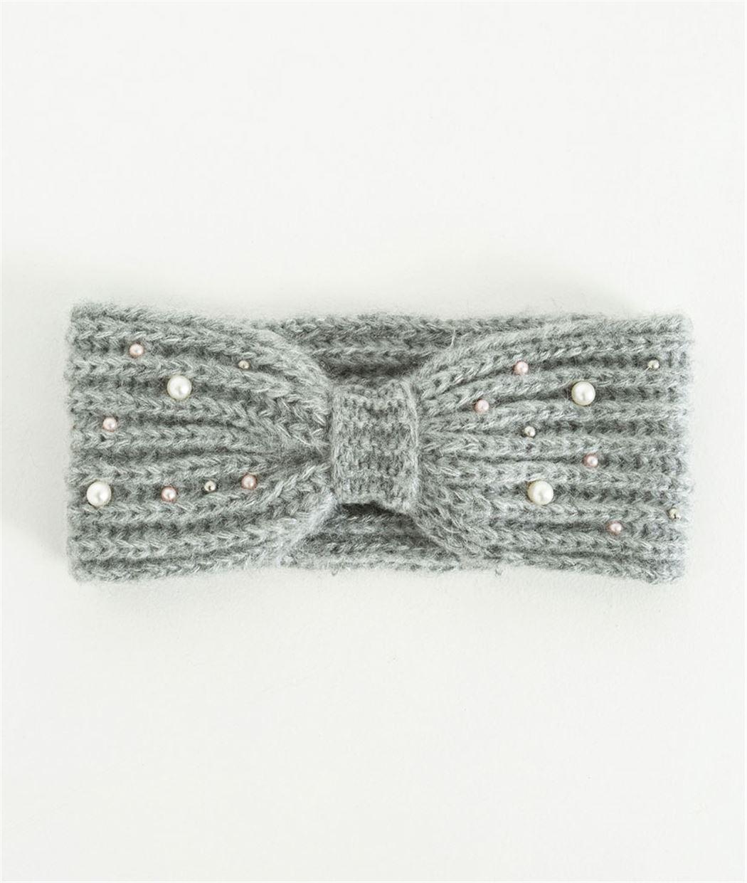 Bandeau femme hiver gris avec perles GRIS