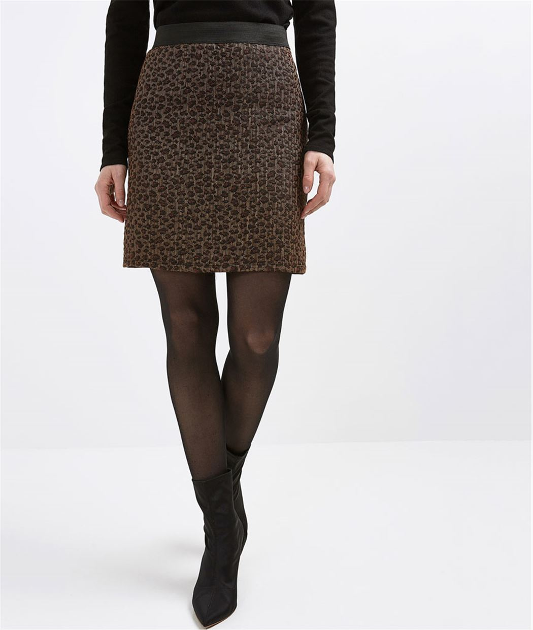 jupe femme courte maille jacquard marron grain de malice. Black Bedroom Furniture Sets. Home Design Ideas