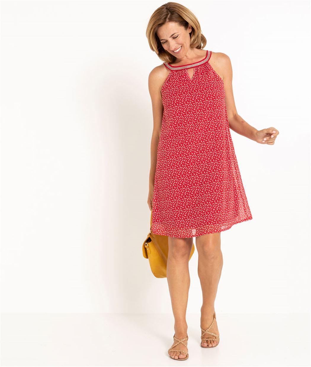 Robe femme fluide rouge imprimée IMPRIME