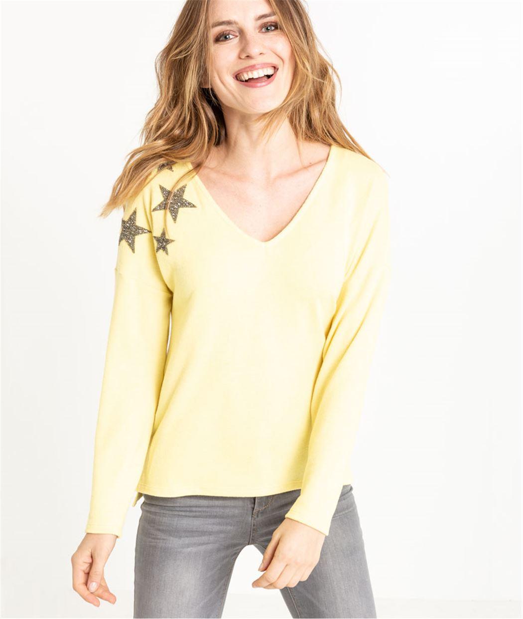 Pull femme jaune avec étoiles JAUNE