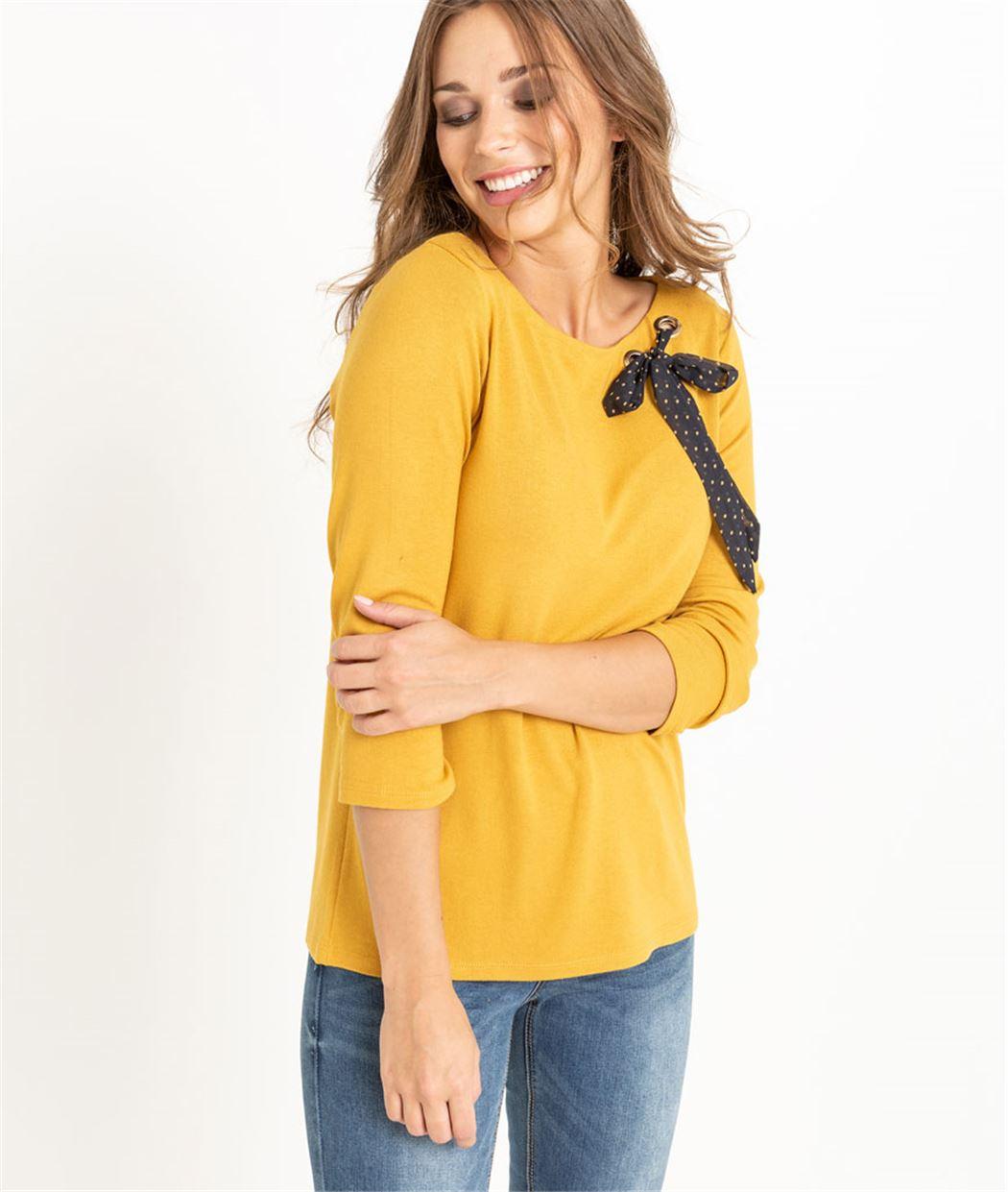 T-shirt femme safran avec noeud SAFRAN