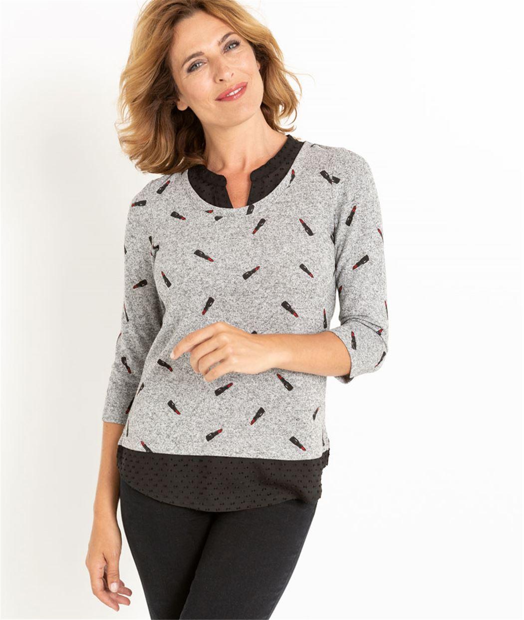 T-shirt femme 2 en 1 imprimé GRIS