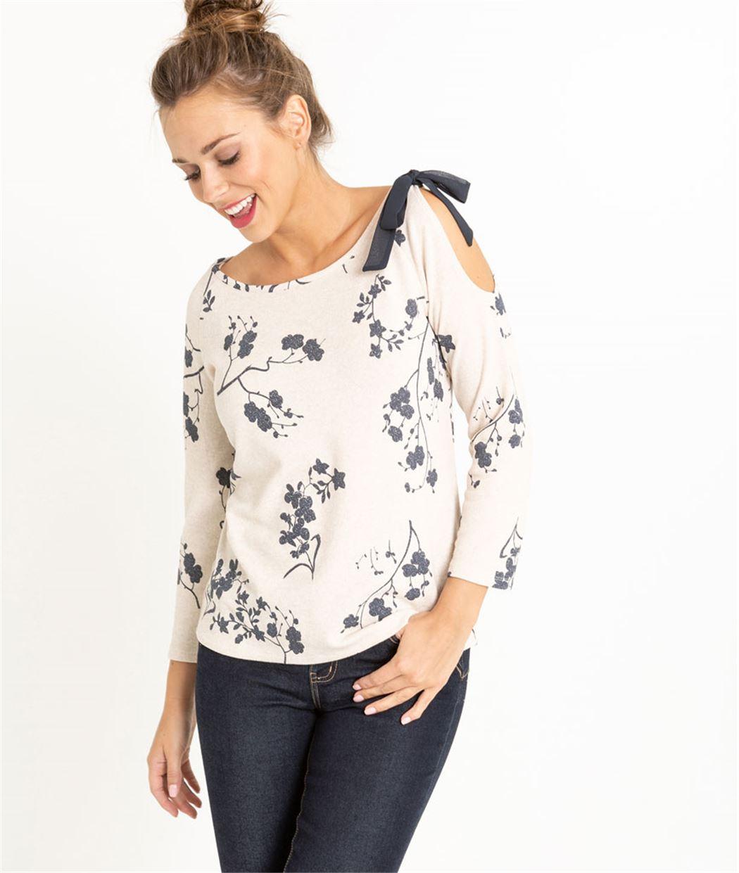 T-shirt femme épaule ouverte et noeud BEIGE