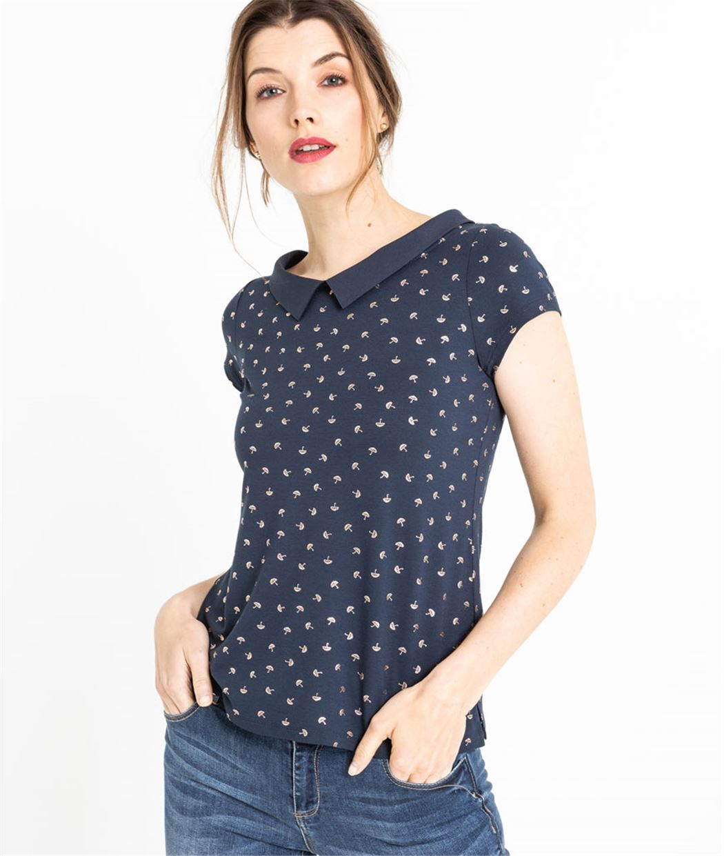 T-shirt femme imprimé parapluies MARINE