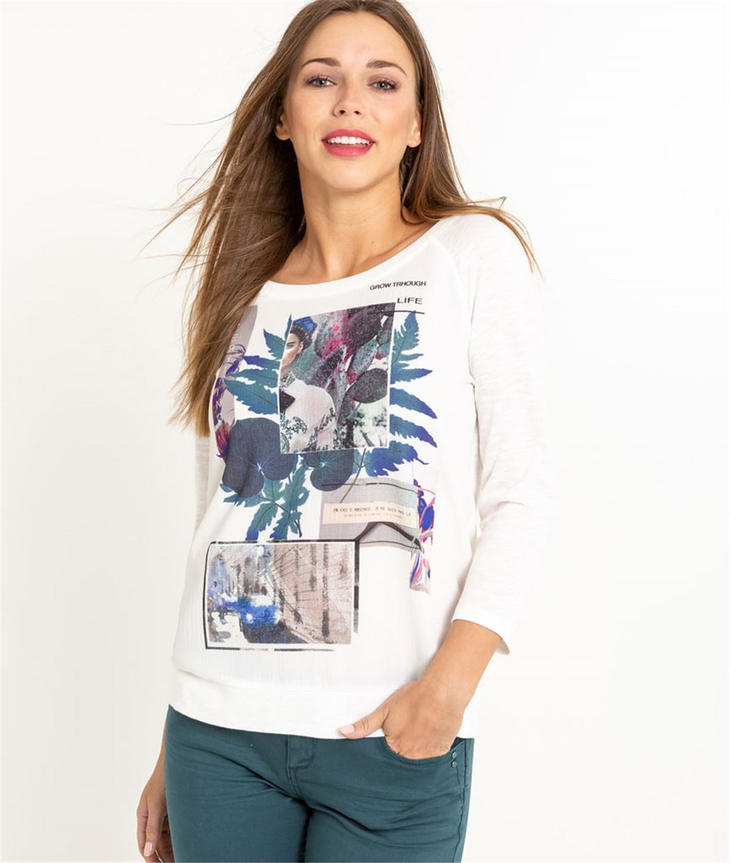 T-shirt femme manches 3/4 ECRU