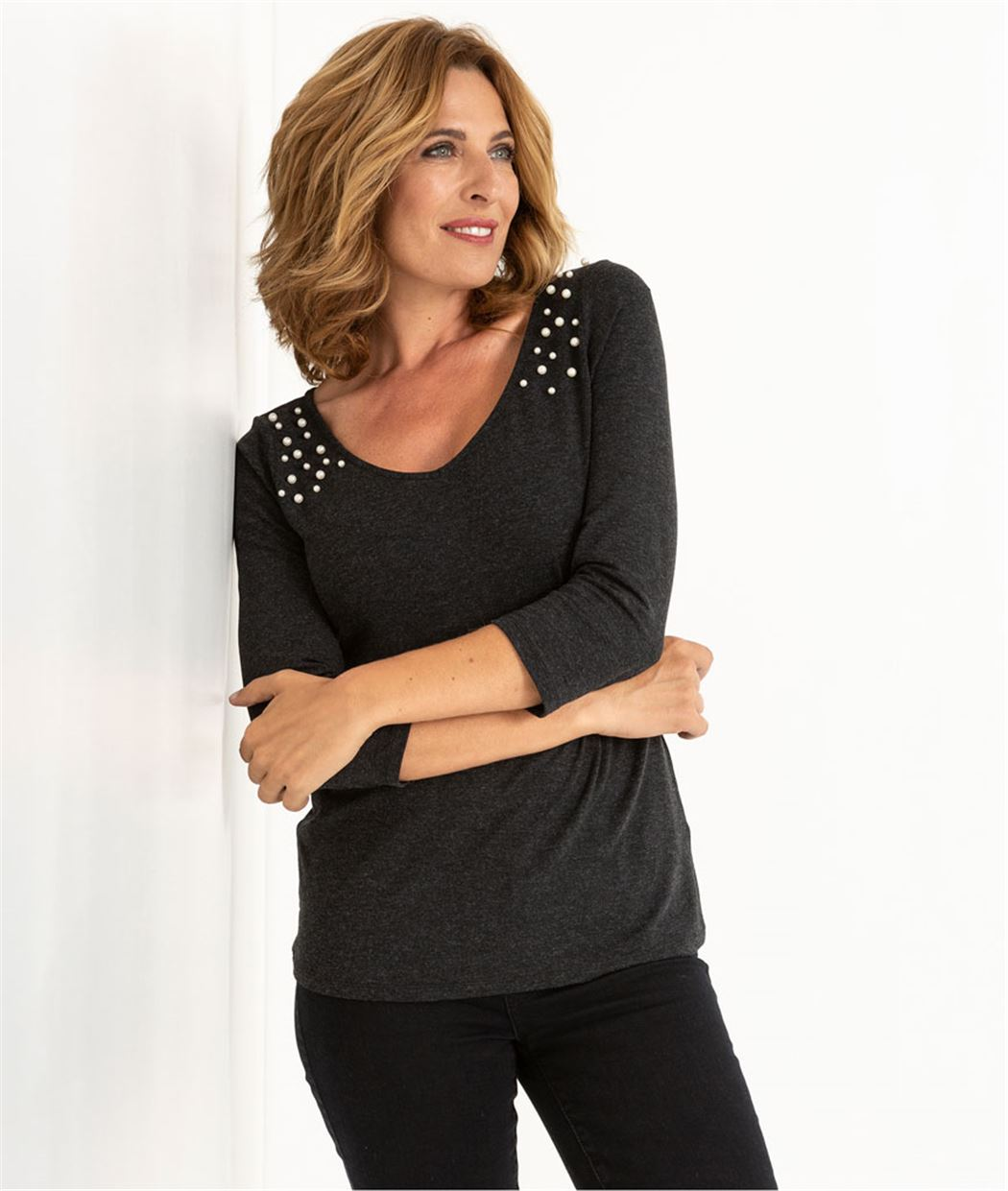 T-shirt femme détails perles GRIS